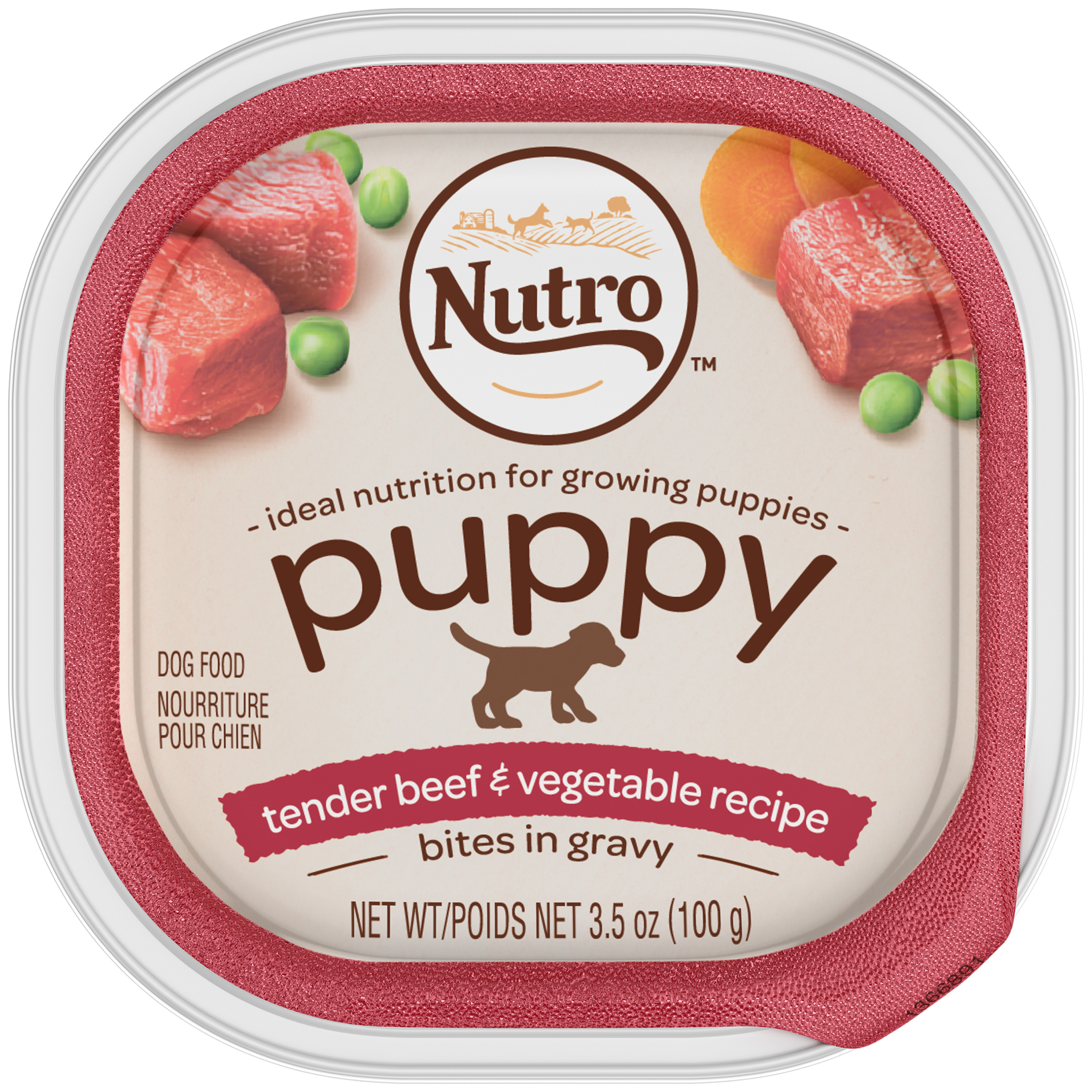 Nutro Puppy Wet Dog Food, Tender Beef & Vegetable Recipe Cuts in Gravy, 3.5 Oz Trays (Pack of 24)