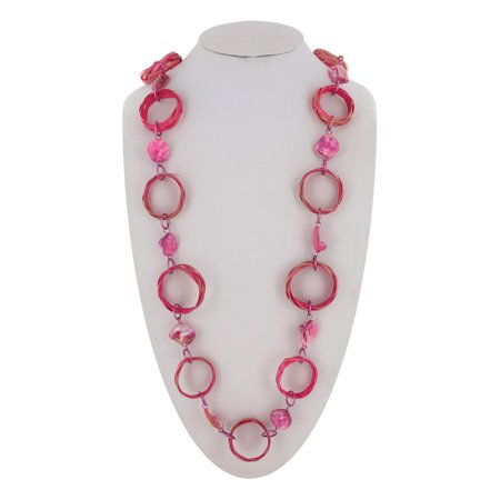 """Coldwater Creek Long Pink Raffia Wicker Ring Link 36"""" Statement Necklace"""