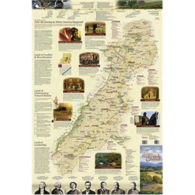 National Geographic Maps RE01020646 Journey Through Hallowed Ground Wall Map - Folded