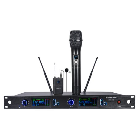 Sound Town 200 Channels Professional UHF Wireless Microphone System with Rack Mountable Metal Receiver, 1 Handheld Mic, 1 Lavalier Mic and Bodypack Transmitter, for Church, School and Karaoke