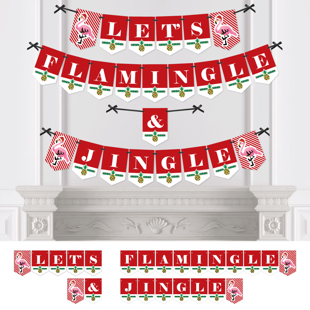 Flamingle Bells - Party Bunting Banner - Tropical Flamingo Christmas Party Decorations - Let's Flamingle & Jingle