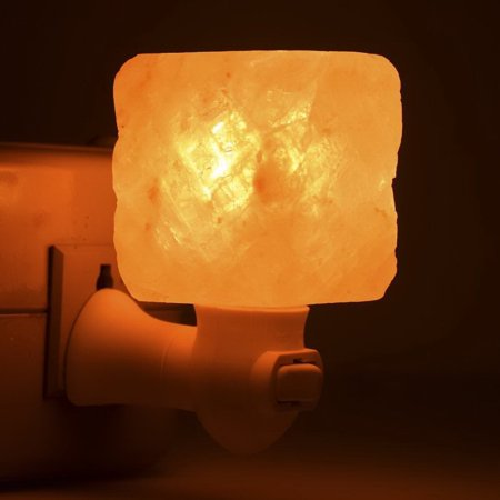 WALFRONT air purifier,Exquisite Square Mosaic Natural Rock Salt Himalaya Salt Lamp Air Purifier with Wood Base Amber (Amber Inlaid Mosaic)