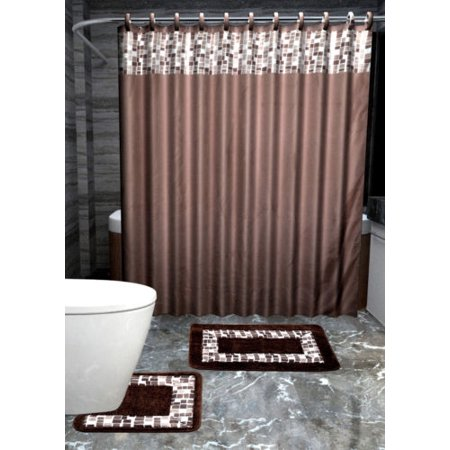 15pc BROWN MOSAIC Bathroom Set Printed Banded Rubber Backing Rug ...