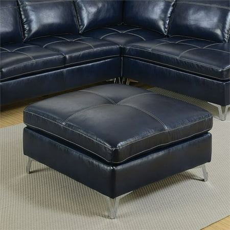 Furniture of America Ostello Leather Gel Ottoman in Dark Blue ()