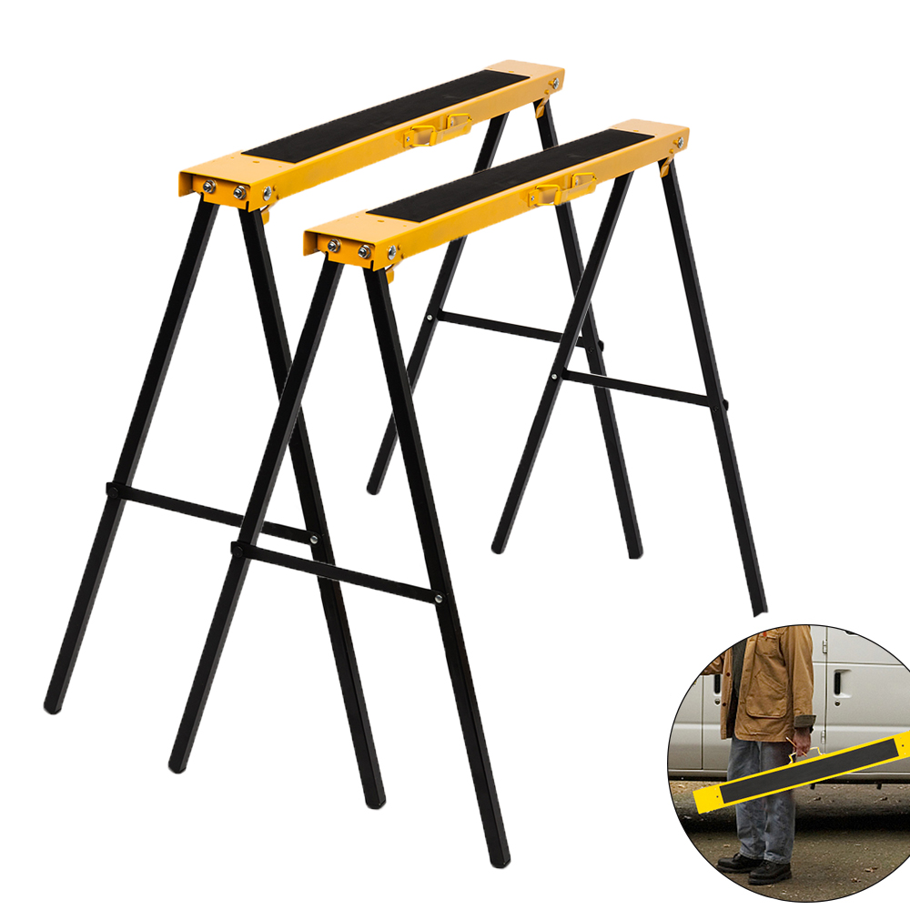UBesGoo 2 Pack Heavy Duty Telescopic Workbench Durable Folding Saw Horse Portable Height Steel Sawhorse