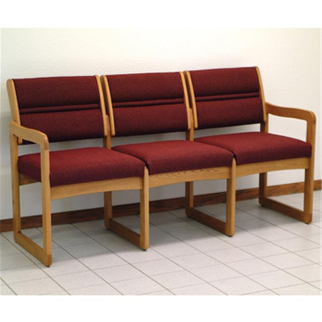 Wooden Mallet Valley Three Seat Sofa in Medium Oak - Leaf