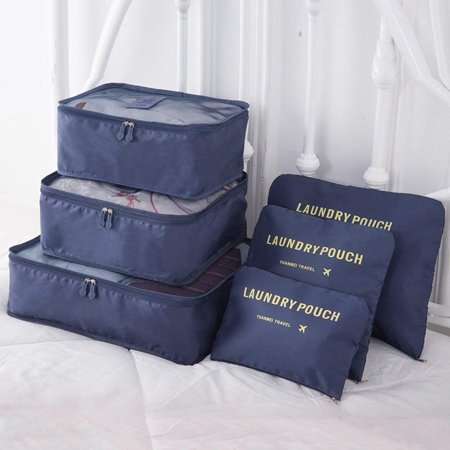 9Pcs Magik Waterproof Clothes Storage Bags Packing Cube Travel Luggage Organizer Pouch (Navy)