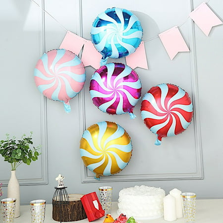 BalsaCircle 5 pcs 13-Inch wide Assorted Swirl Lollipop Candy Mylar Foil Balloons Wedding Reception Decorations Wholesale Supplies