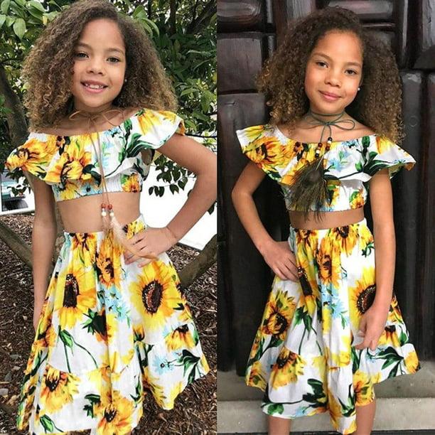 2PCS Toddler Kids Baby Girls Summer Clothes Off Shoulder Tops+Skirt Dress Outfit