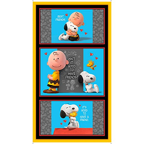 "Good Friends~Peanuts Panel 24"" x 44"" Cotton Fabric by Quilting Treasures"