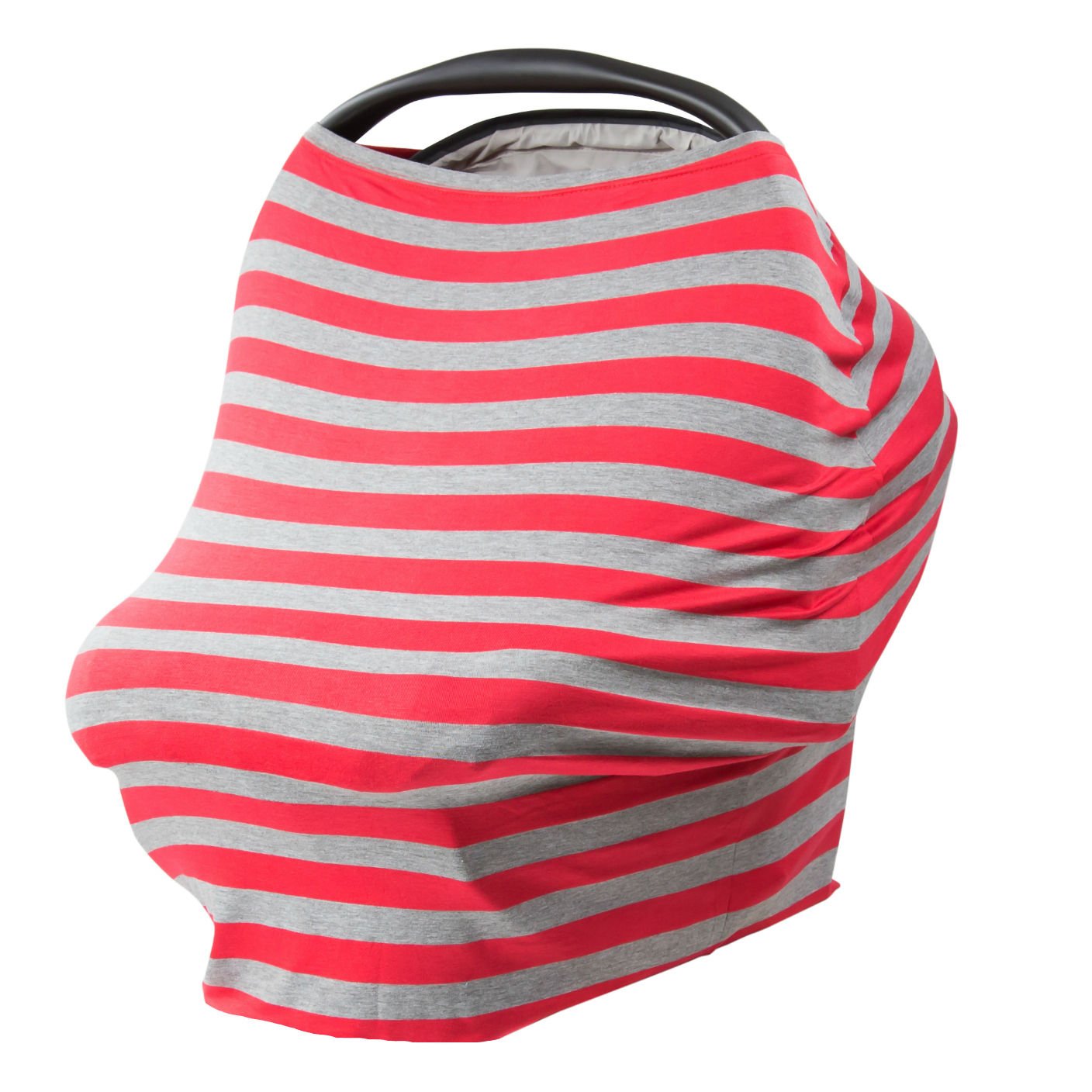 JLIKA Baby Car Seat Canopy Cover and Stretchy Nursing Cover- Gray Red Stripe