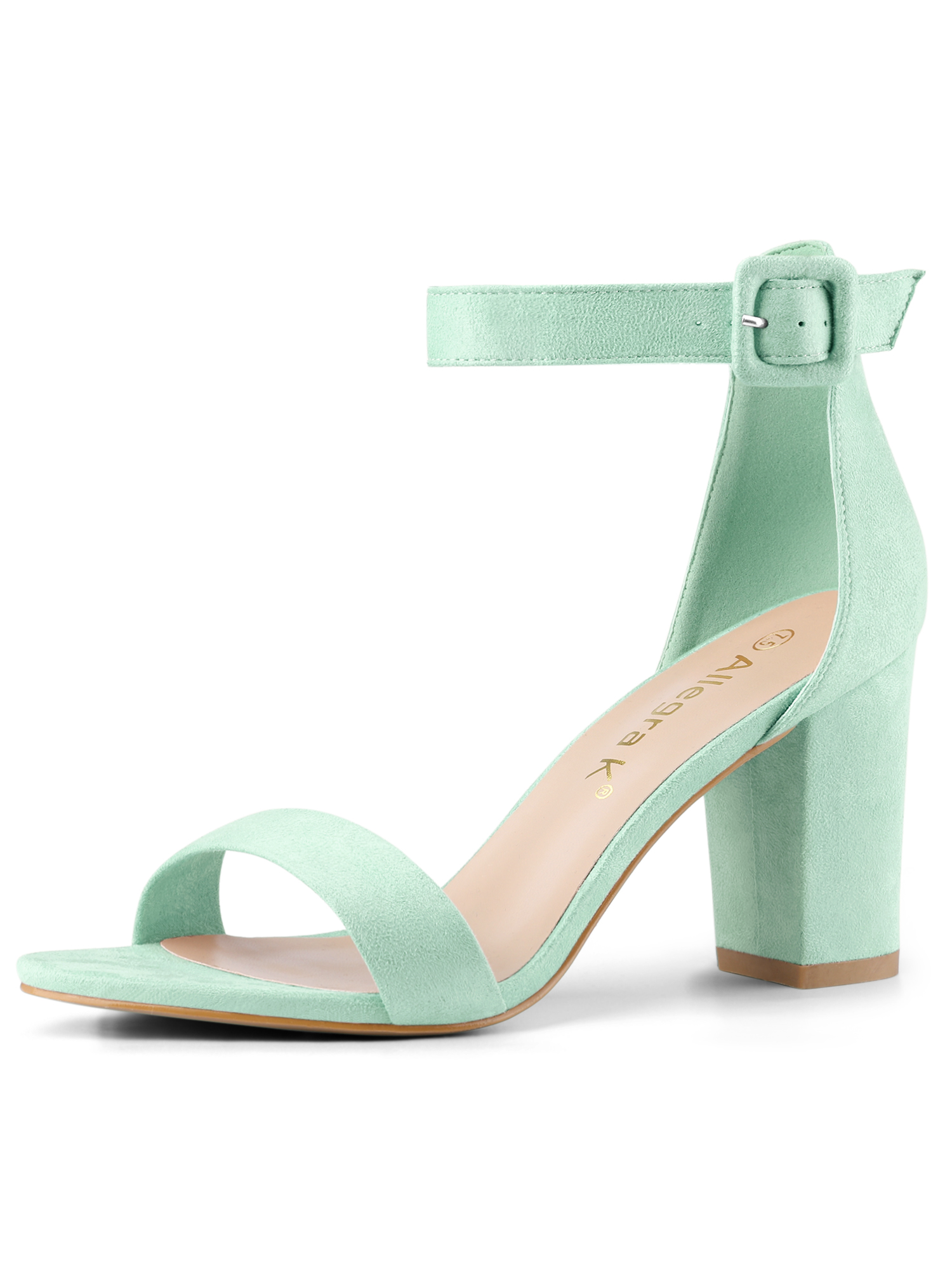 284H Woman Open Toe Chunky High Heel Ankle Strap Sandals Light Green/US 11.5