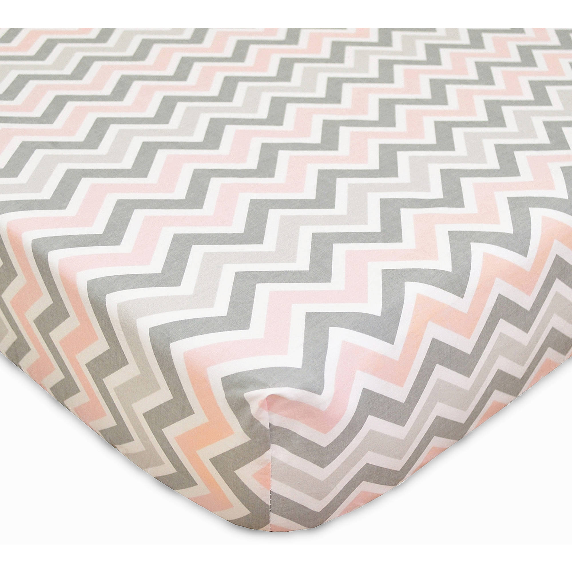 TL Care 100 Percent Cotton Percale Fitted Crib Sheet, Pink with Zigzag