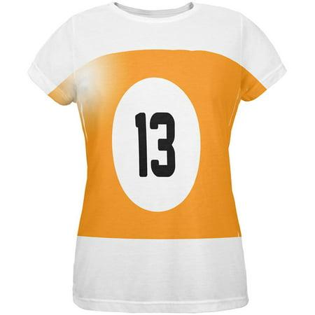 Halloween Billiard Pool Ball Thirteen Costume Womens T Shirt