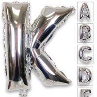 Just Artifacts Shiny Silver (30-inch) Decorative Floating Foil Mylar Balloons - Letter: K - Letter and Number Balloons for any Name or Number Combination!