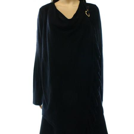 Ruffle Neck Wrap - INC NEW Black Deep Women's Size Small S Cowl Neck Ruffled Wrap Sweater