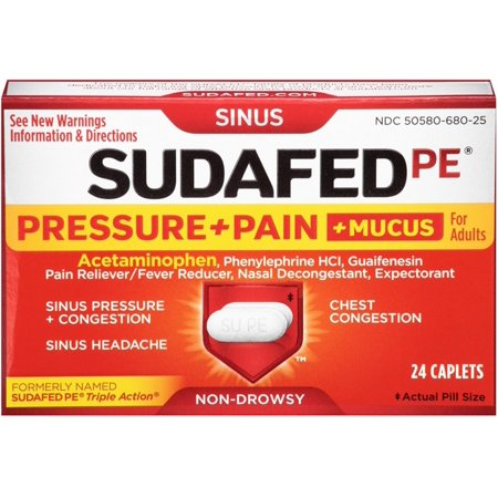 Sudafed Pe Pressure Pain Mucus Non Drowsy Caplets For
