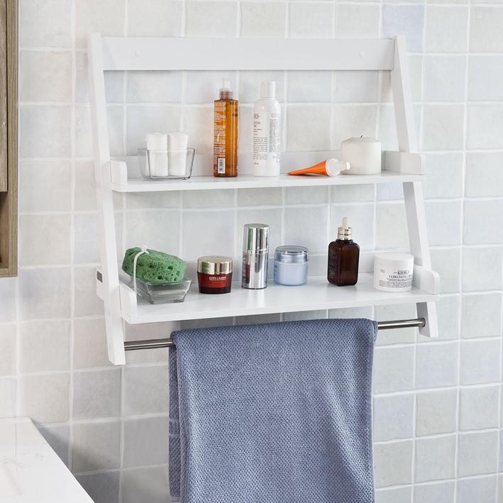 SoBuy ® Wall Shelf frg117-w Bathroom Shelf with 2 shelves and a Pole Towel Holder