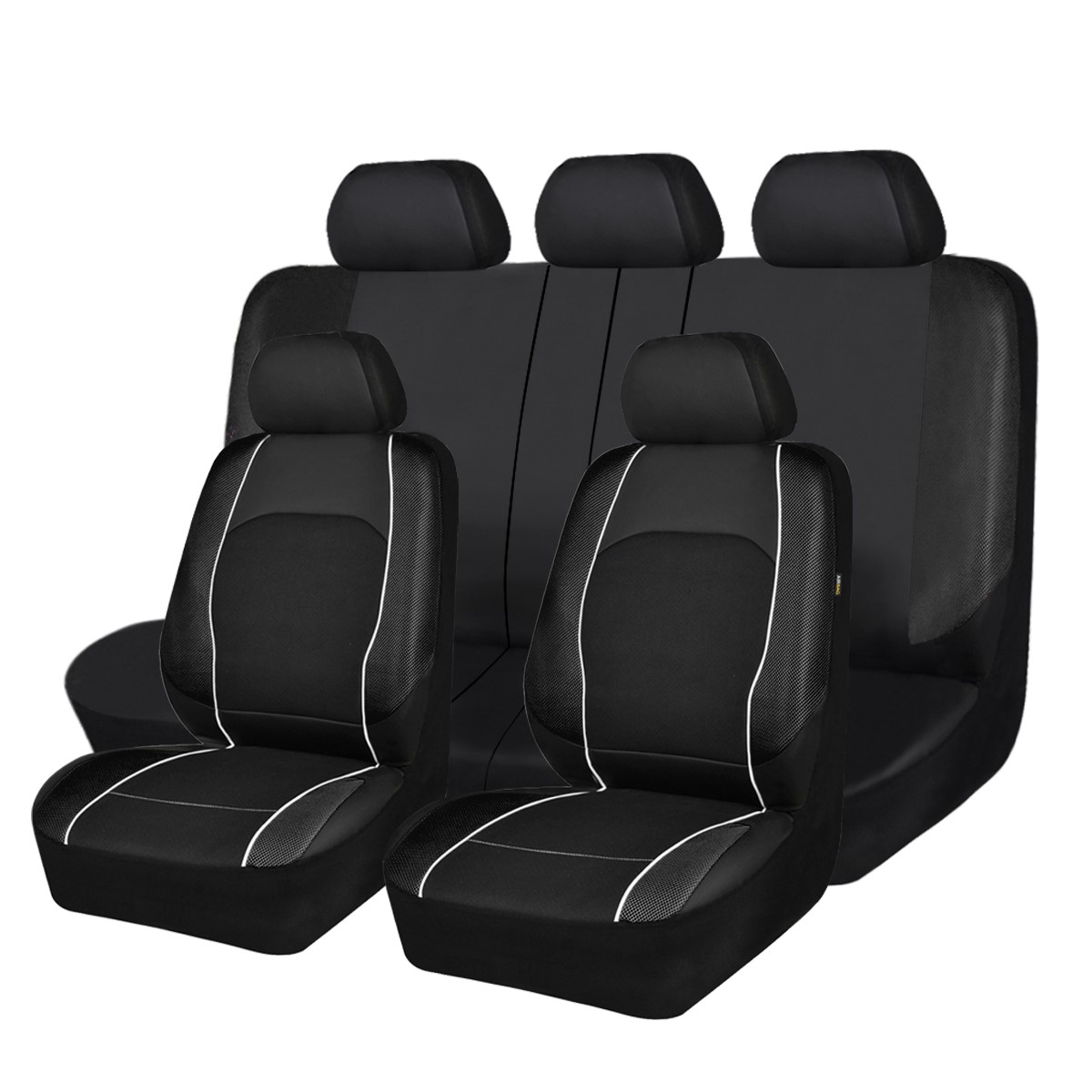 Full Leather Seat Covers Set Gray Black For Auto Car SUV Van Universal w// Gift
