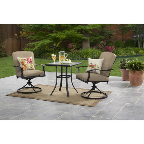 Mainstays Belden Park 3-Piece Outdoor Bistro Set for Patio and Porch, Tan