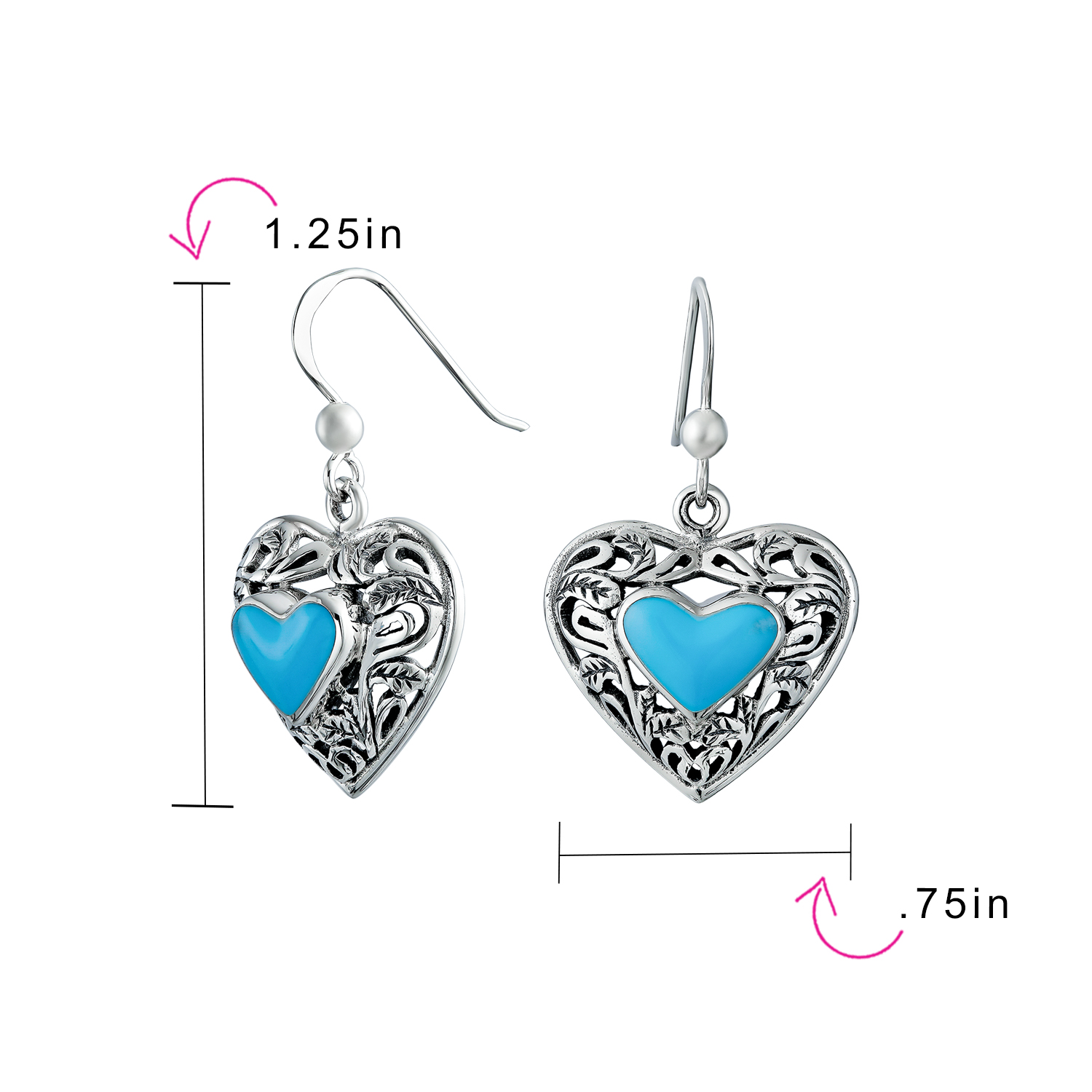 Women 8mm Sterling Silver Turquoise Filigree Heart Promise Vintage Style Ring