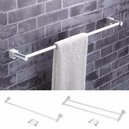 M.way Aluminum Bathroom Double Towel Bar Rail Rack Holder 2 Bar Hanger Wall Mount Shelf Chrome Double Towel Bar Holder