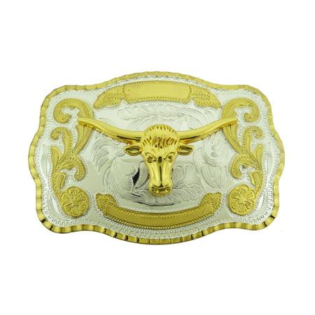 Bull Longhorn Buffalo Ox Gold Two-Tone Fashion Costume Belt Buckle Western Rodeo ()