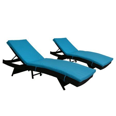 Kinbor All Weather 2Pcs Outdoor Patio Adjustable Wicker Chaise Lounge Set Blue Cushion