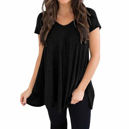 INNOVEE V neck T Shirts for Women, Short Sleeve Irregular Hem Bottoming Solid Color Sleep (Woman Sleeps With Dead Husband Short Story)