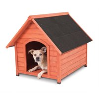 "Petmate Peak Wood Dog House, Brown, Medium, 32.75""L x 39.60""W x 32.50""H"