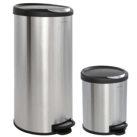 Happimess Oscar 2 Piece Step On Trash Can Set - Stainless Steel and