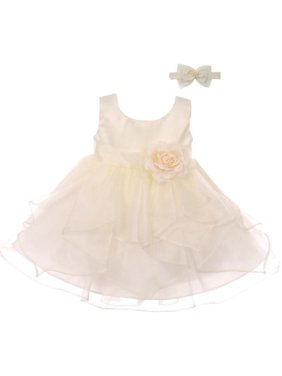 447f6a8b478 Product Image Good Girl Baby Girls Off-White Satin Organza Sleeveless  Flower Girl Dress