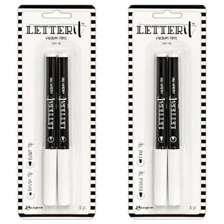 Ranger LETTER IT MEDIUM PENS Clear Embossing Ink (2 packs- Set #1 & #2) (Zig Embossing Pen)