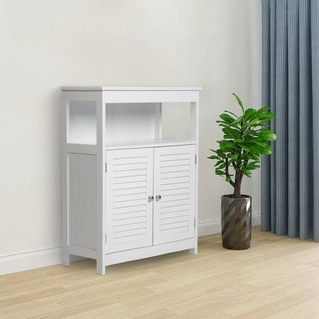 Kinbor Bathroom Floor Cabinet Free Standing Storage Cabinet Organizer with Double Shutter Doors and Adjustable Shelf for Home Furniture, - Freestanding Bathroom Cabinets