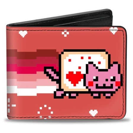 Nyan Cat Youtube Video Meme Pink Rainbow   Hearts Bi Fold Wallet