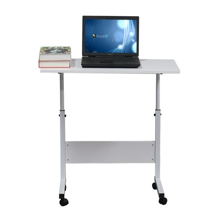 Freestanding Work Table (UBesGoo Laptop Table Adjustable Height Standing Computer Desk Portable Stand Up Work Station Cart Tray Side Table for Sofa and Bed,White)
