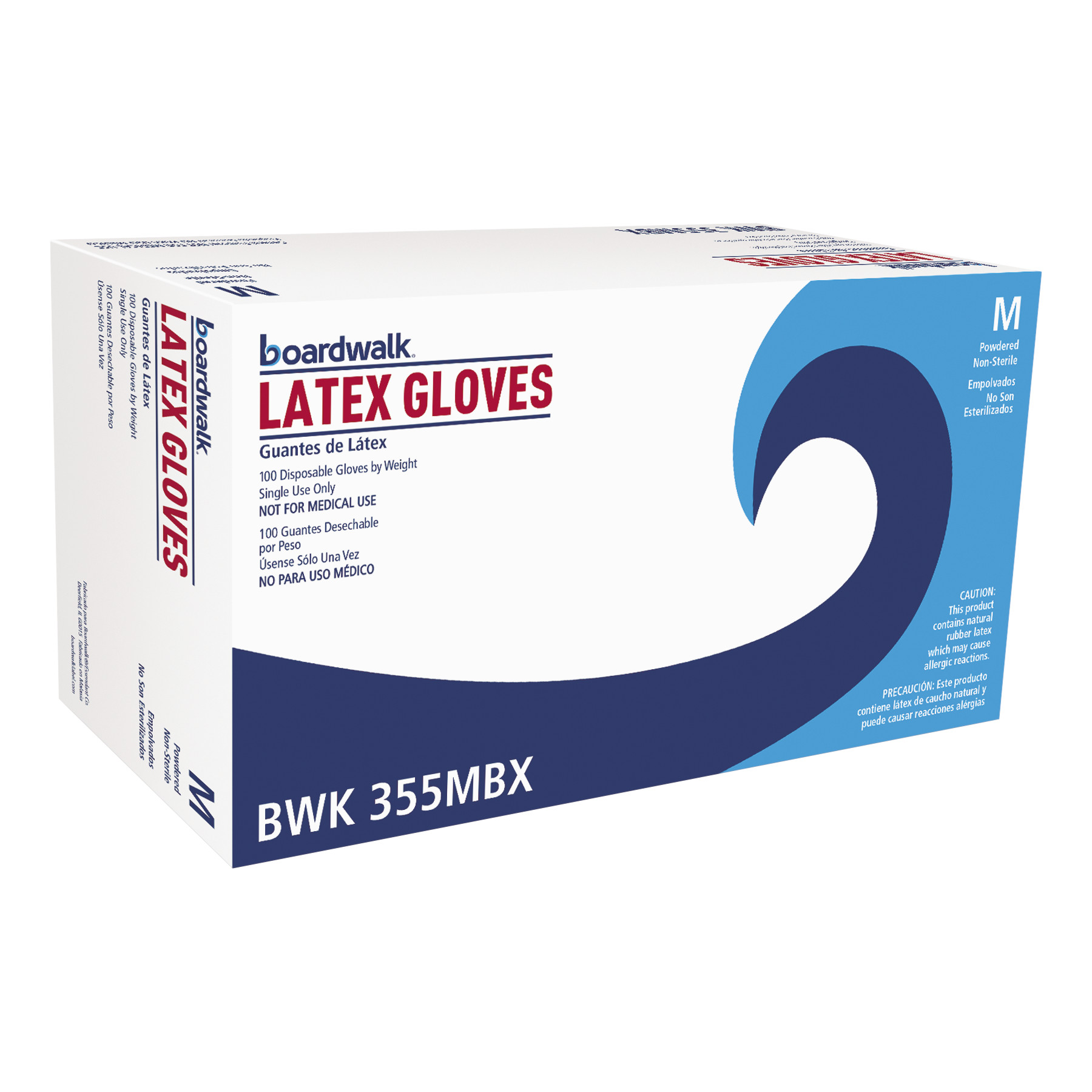 Boardwalk General Purpose Powdered Latex Gloves, Medium, 100/Box -BWK355MBX