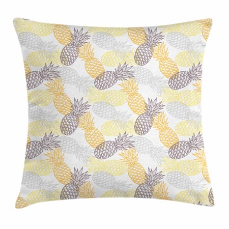 Fruits Throw Pillow Cushion Cover, Soft Toned Exotic Pineapple Figures Tropical Diet Food Artistic Illustration, Decorative Square Accent Pillow Case, 16 X 16 Inches, Marigold Dimgray, by Ambesonne