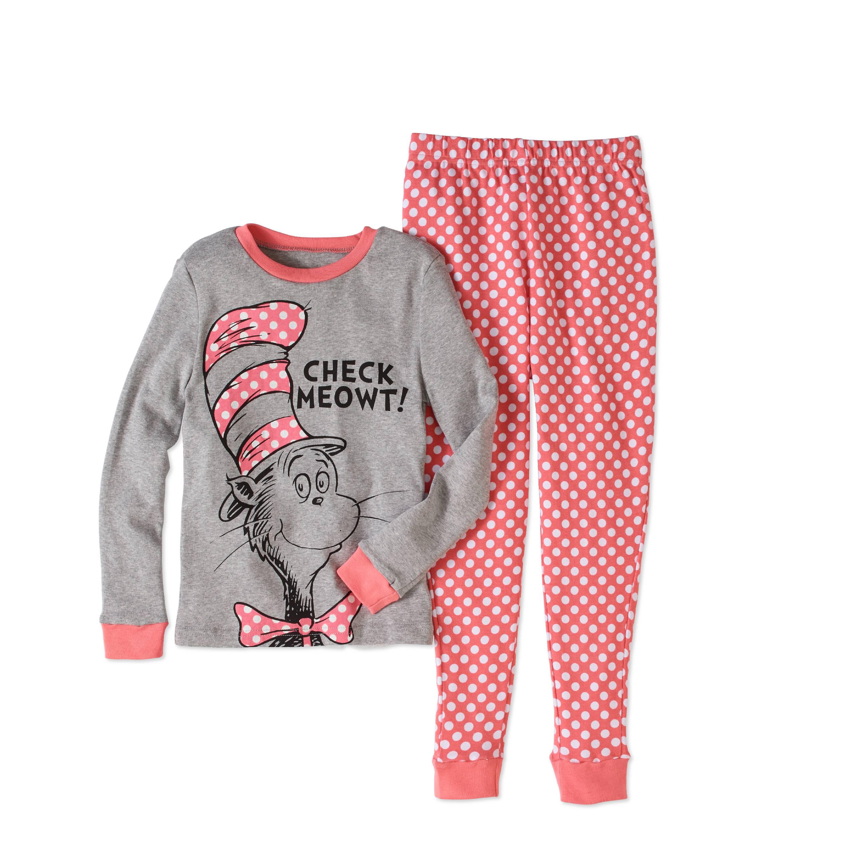 Dr Seuss Girls' Cat in the Hat Tight Fit Pajama 2pc Sleepwear Set