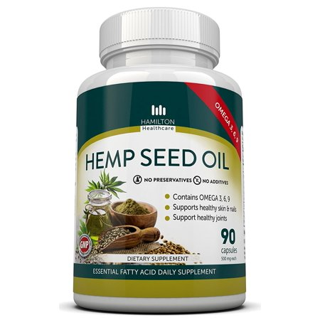 Hemp Seed Oil Capsules With Omega 3  6  9 Fatty Acids   90 Capsules   Supports Healthy Joints  Skin   Nails   No Worry Of Mercury From Fish Oil   By Hamilton Healthcare