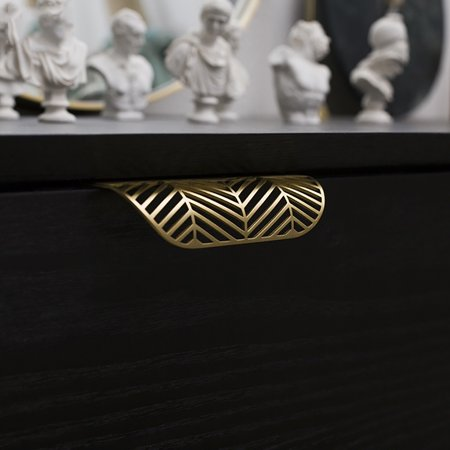 Leaf Shape Furniture Kitchen Cabinet Wardrobe Drawer Pull Knob Brass Door Handle - image 6 of 7