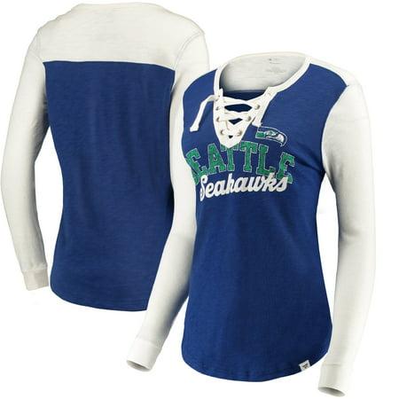 - Seattle Seahawks NFL Pro Line by Fanatics Branded Women's True Classics Lace Up Long Sleeve T-Shirt - Royal/Cream