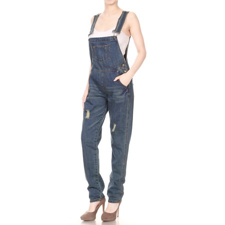 Vault Jumpsuit For Sale (Fashion Womens Distressed Denim Overalls with Tapered Leg and Pockets Jumpsuit)