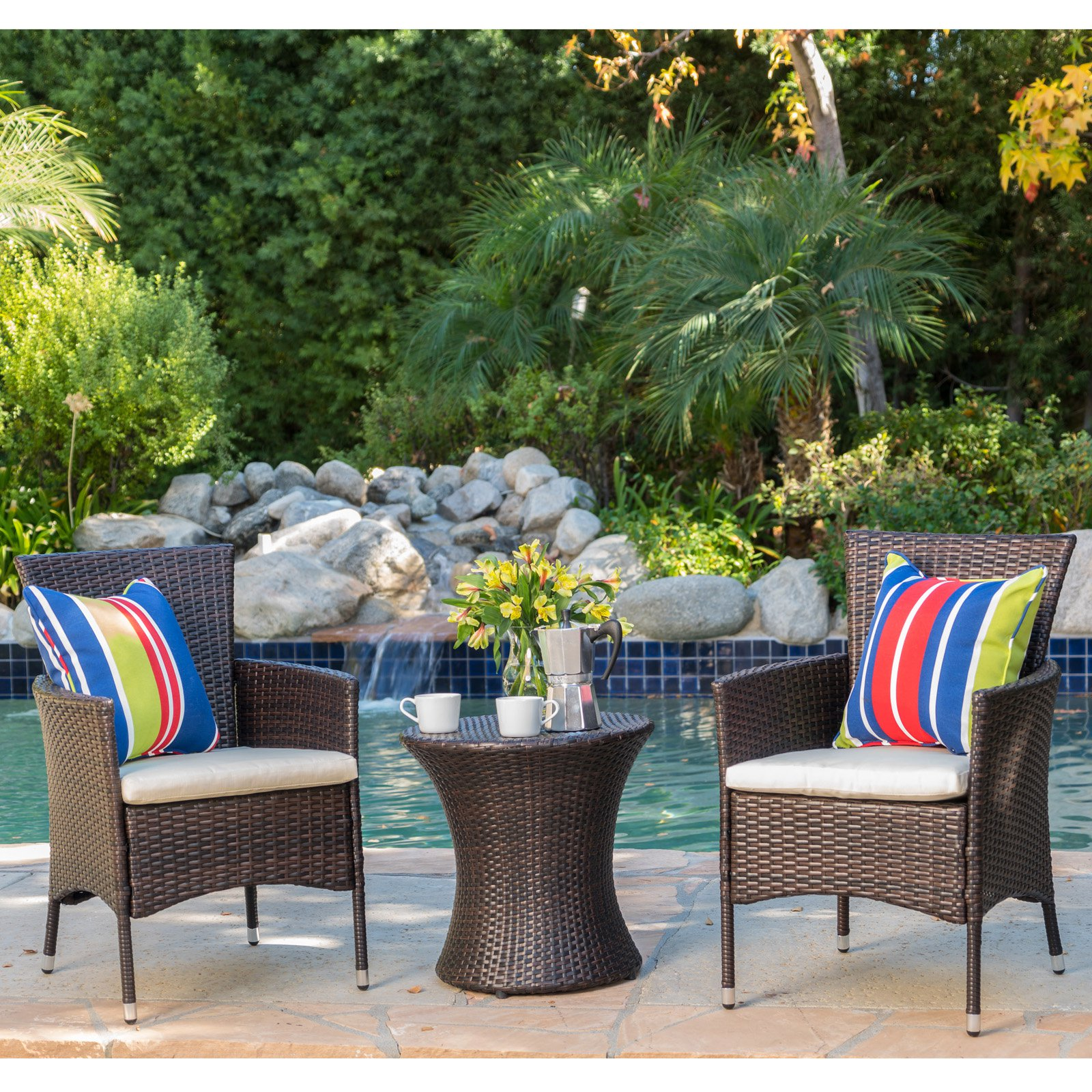 Beau Carioca 3 Piece Wicker Patio Chat Set