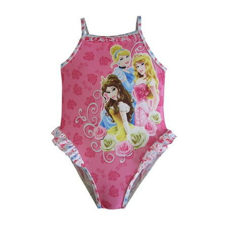 Disney Baby Girls Pink Princess Print Ruffle Detail One Piece Swimsuit (Disney Princesses Swimsuit)