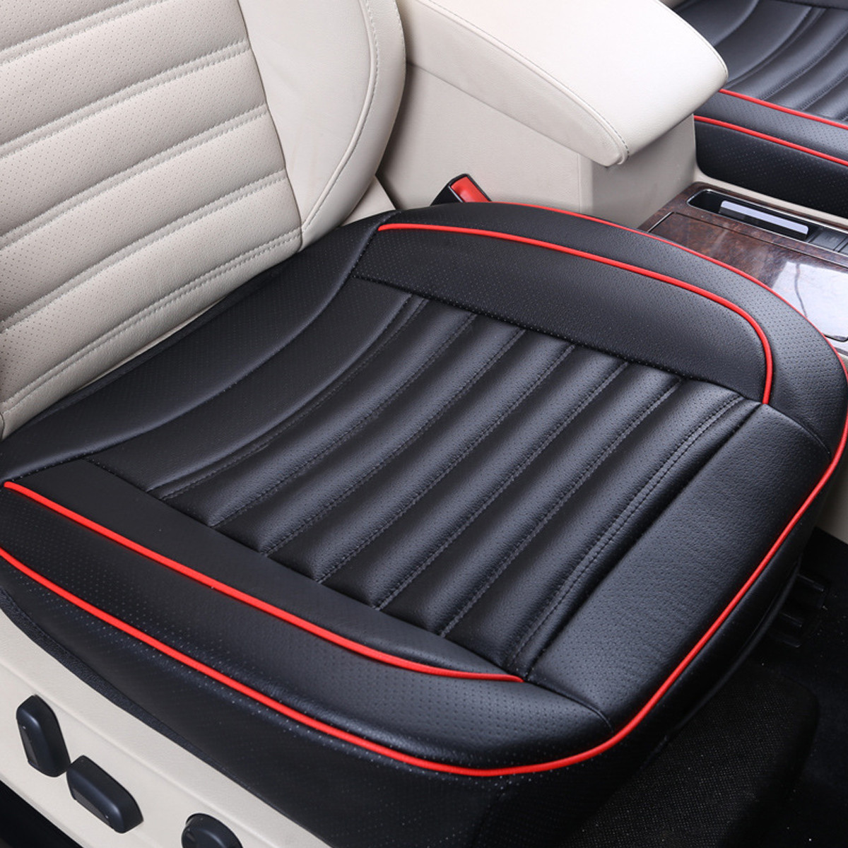 PU Leather Car Seat Cover Pad Cover Breathable Soft for Auto Seat Cushion Protection Pad Mat 50x50cm,Black color