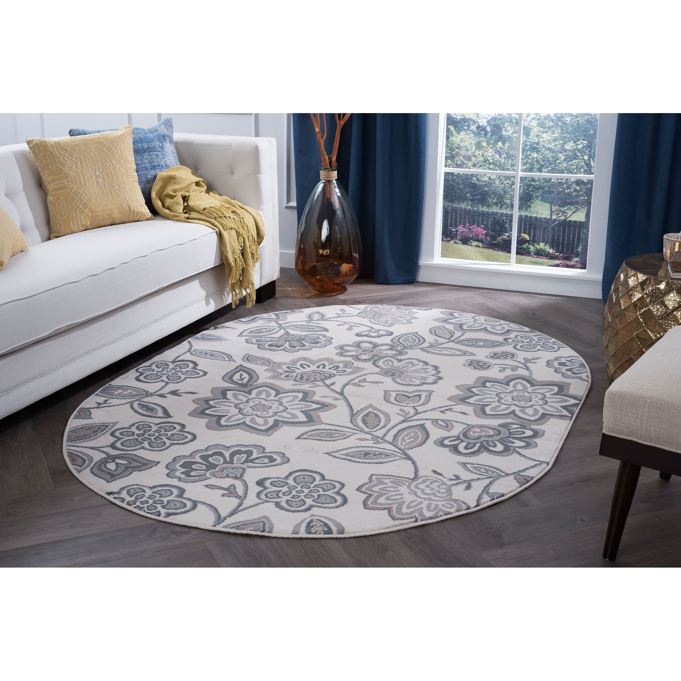 Alise Rugs  Carrington Transitional Floral Oval Area Rug