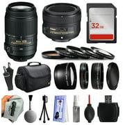 Beginner Accessories Bundle for Nikon DF D7200 D7100 D7000 D5500 D5300 D5200 D5100 D5000 D3300 D3200 D3100 D300S D90 includes Nikon 55-300mm VR Lens + 50mm f/1.8G Lens + 32GB Memory + Filters + Case