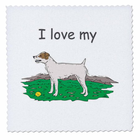 3dRose Cute and Cuddly Canine I Love My Jack Russell Terrier - Quilt Square, 8 by 8-inch