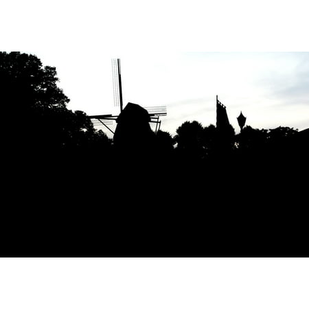 Canvas Print City Niederrhein Zons Silhouette Windmill Stretched Canvas 10 x 14 (Wind City Sole)